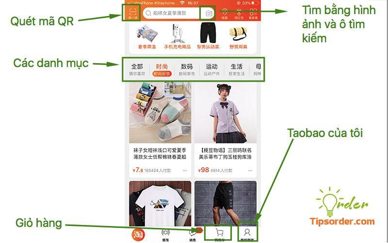Các khu vực cần lưu ý trên giao diện app taobao trên điện thoại