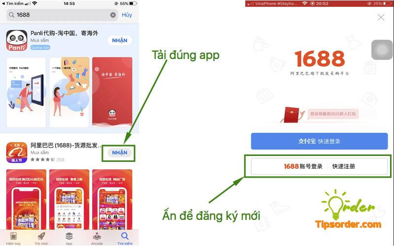 Tải app 1688 về và chọn phần đăng ký tài khoản