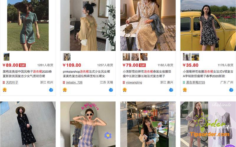 Nguồn mua váy liền thân trên taobao