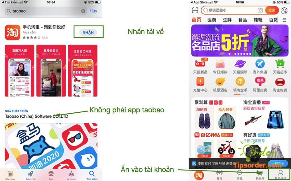 Tải app về như hình bên trái và vào phần cài đặt tài khoản như hình bên phải