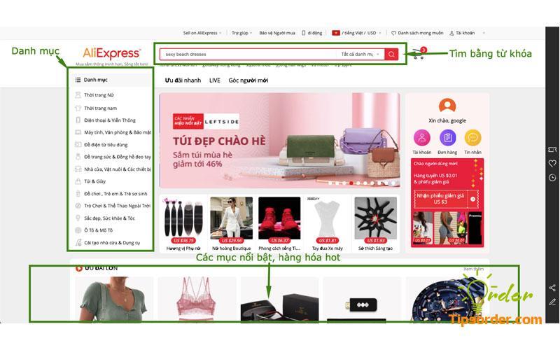 Cách tìm kiếm sản phẩm trên Aliexpress