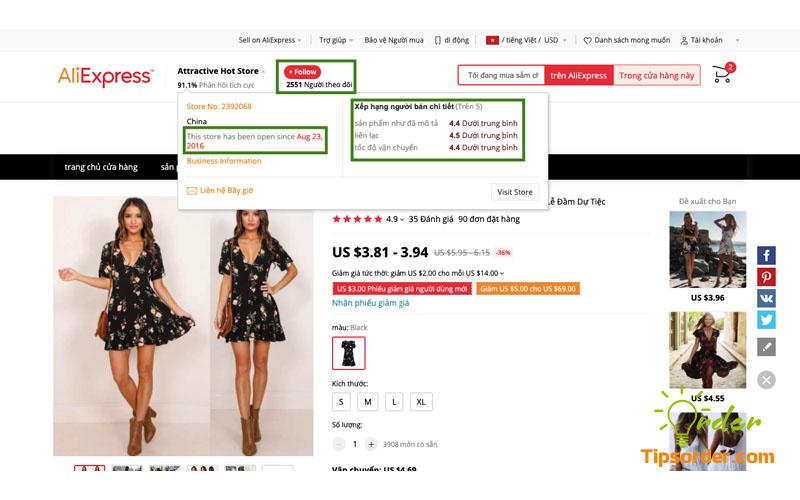 Xem điểm đánh giá shop, lượt theo dõi và số năm hoạt động của shop trên Aliexpress