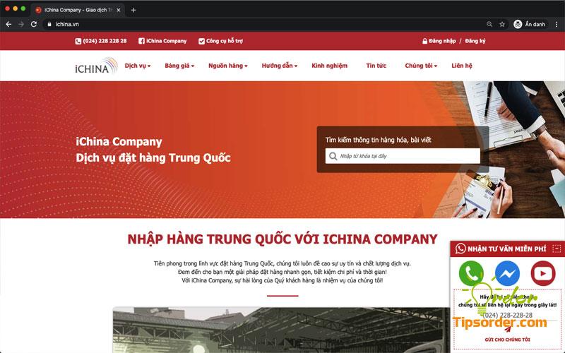 Giao diện web đặt hàng của iChina Company