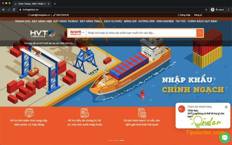 Giao diện đặt hàng của website order hộ của HVT Logistics khá chuyên nghiệp