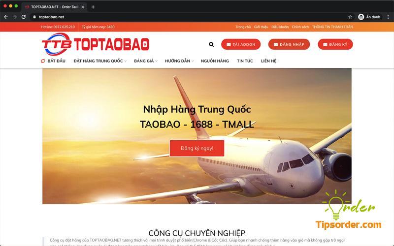 Giao diện trang web order Trung Quốc của toptaobao.net