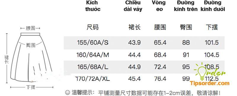 Dịch bảng size chân váy Trung Quốc