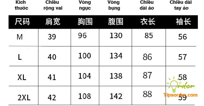 Dịch bảng size các loại áo của Trung Quốc