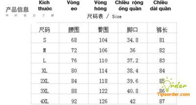 Dịch bảng size quần dài Trung Quốc