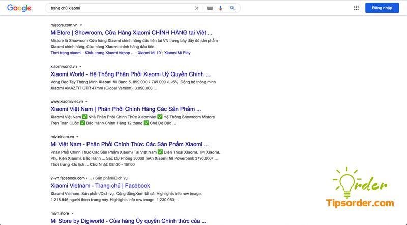 """Kết quả tìm kiếm từ khóa """"trang chủ xiaomi"""" ra nhiều web không phải của hãng Xiaomi"""