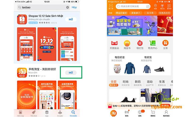 Dễ dàng tìm kiếm ứng dụng taobao trên Appstore