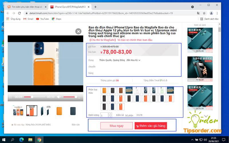 Lựa chọn các thông tin về sản phẩm như màu sắc, số lượng, kích thước,...