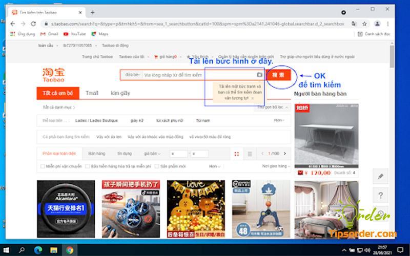 Tải lên hình ảnh món đồ mà bạn đang tìm trên Taobao