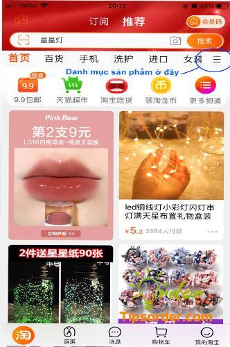 Chọn phần danh mục sản phẩm trên app taobao