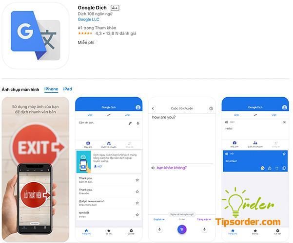 Google Dịch trong cửa hàng ứng dụng Appstore