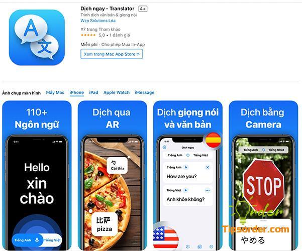 Translator trong cửa hàng ứng dụng Appstore.