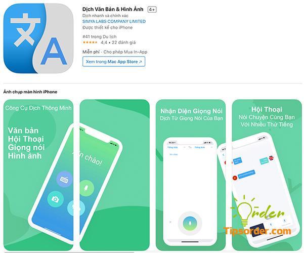 Dịch văn bản & Hình Ảnh trong cửa hàng ứng dụng Appstore.