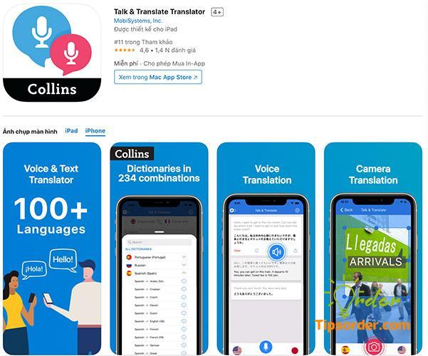 Talk & Translate Translator trong cửa hàng ứng dụng Appstore.