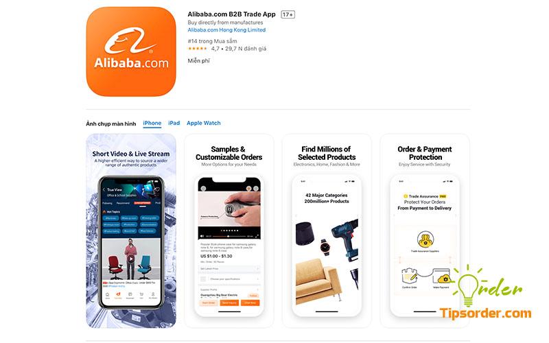 Hình ảnh ứng dụng Alibaba trên Appstore.