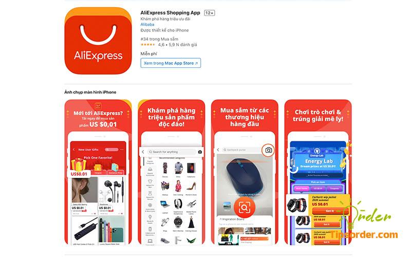 Hình ảnh ứng dụng Aliexpress trên Appstore.