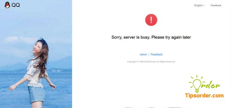 Lỗi máy chủ bận khi đăng ký tài khoản QQ