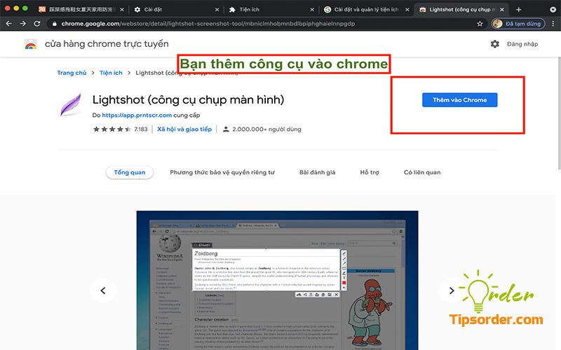 Chọn thêm công cụ vào Chrome.
