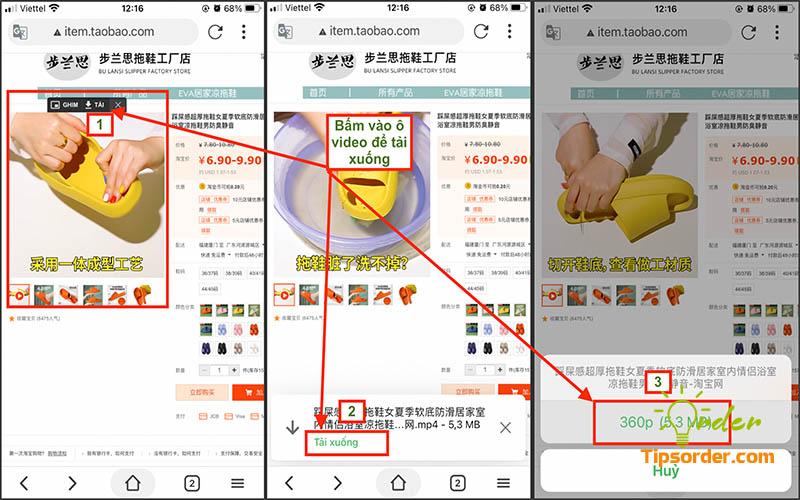 Chọn video cần lưu trên Taobao và ấn tải về