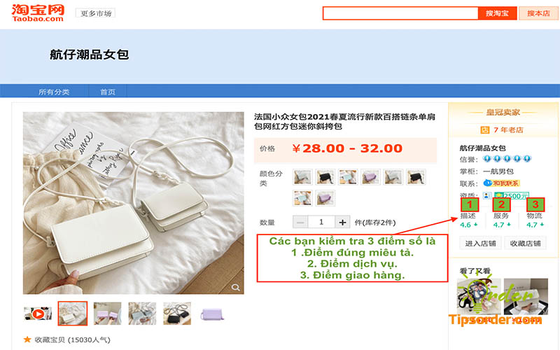 Điểm mô tả, dịch vụ, giao hàng của sản phẩm túi xách mà mình chọn mua.