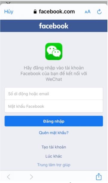 Nhập tài khoản facebook đã liên kết với Wechat