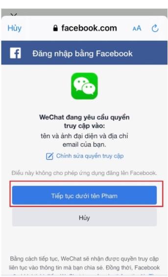 """Bấm chọn """"Tiếp tục"""" để hoàn tất quá trình bỏ chặn Wechat."""