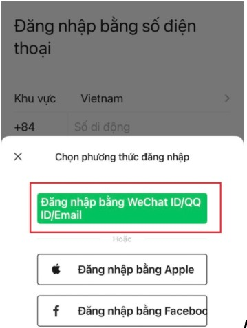 Lựa chọn đăng nhập bằng Wechat ID/QQ ID/Email
