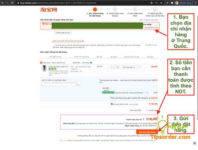 Điều địa chỉ nhận hàng cho đúng tại Trung Quốc và xem giá tiền của sản phẩm bạn đặt mua.