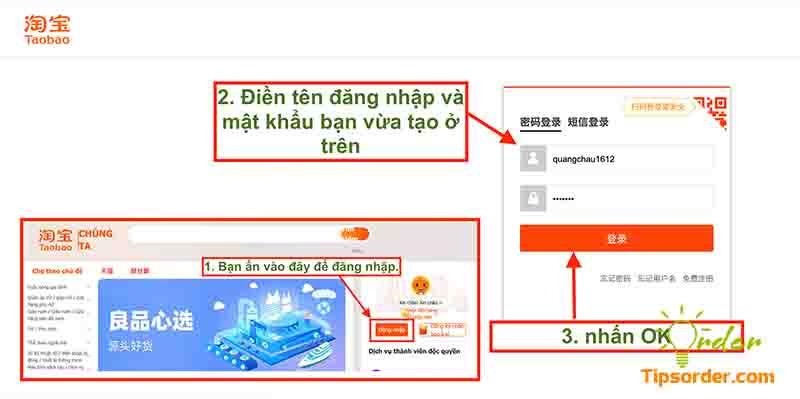 Điền thông tin tài khoản và mật khẩu vừa tạo để đăng nhập Taobao.