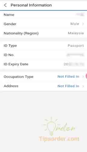 Bổ sung thông tin tài khoản ví Alipay