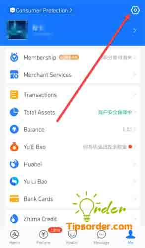Lựa chọn cài đặt tài khoản Alipay